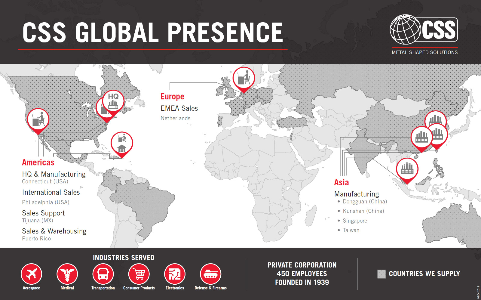 A map of the CSS Global Presence